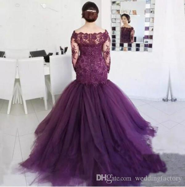 abito da sposa madre sirena manica lunga abiti da sposa viola scollo a barchetta abito formale abito in tulle con perline in pizzo