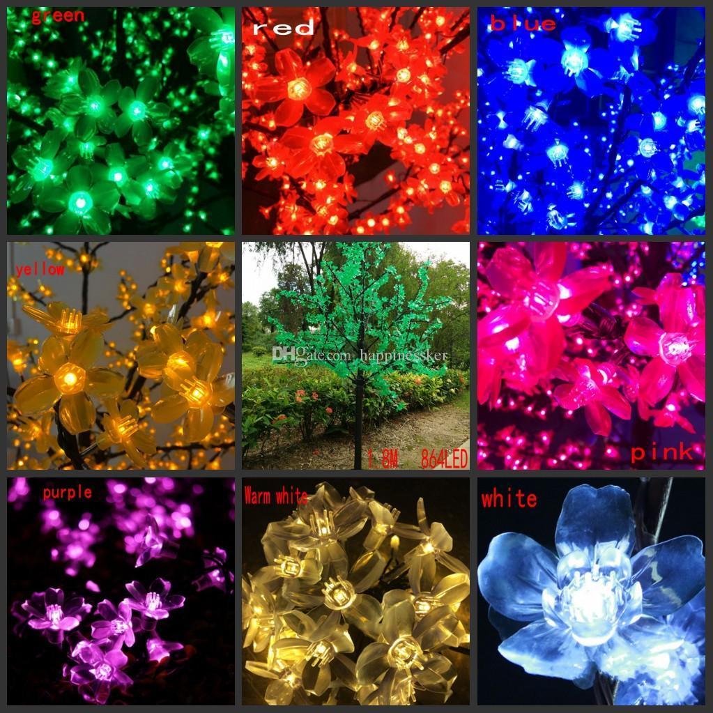 LED Yapay Kiraz Çiçeği Ağacı Işık Noel Işık 864 adet LED Ampuller 1.8 m Yükseklik 110/220VAC Yağmur Geçirmez Açık Kullanım Ücretsiz Nakliye