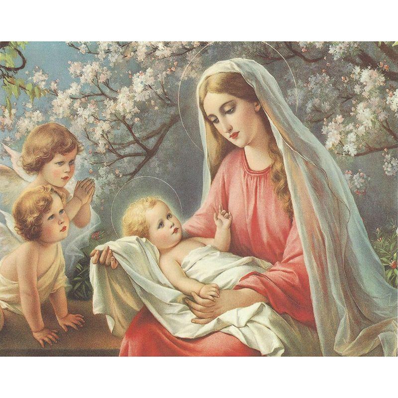 2018 virgin mary child boy girl diy diamond painting embroidery 5d