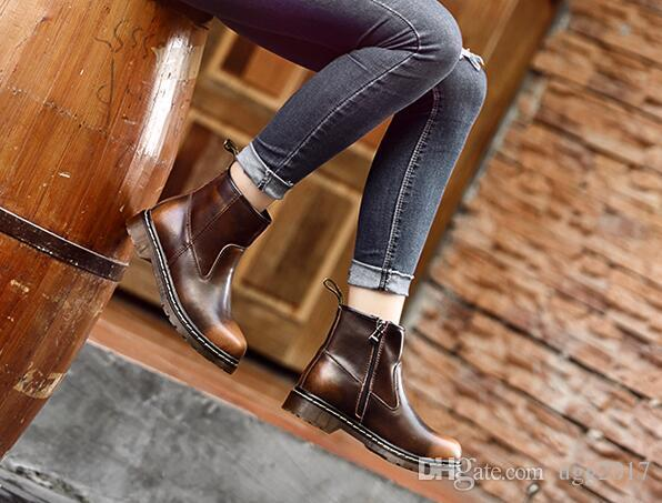 2017 new autumn and winter Martin boots student couple in the tube flat women short boots desert shoes