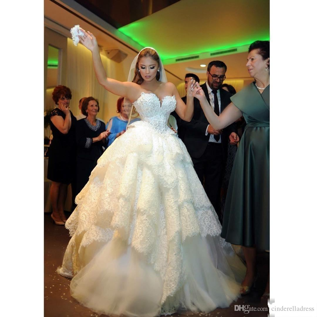 New Pnina Tornai 2017 Puffy Lace Wedding Dresses Backless Pearls Tiered Sweetherat Court Train Custom Made Plus Size Ball Gown Wedding Gowns