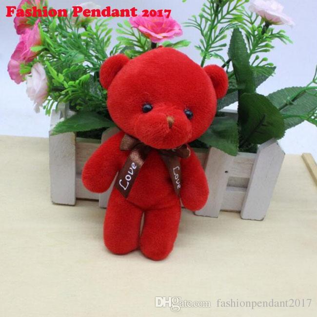 12cm Bow Tie Teddy Bear Mini Joint Plush Keychain Bear Bouquet Toy Phone Pendant multicolor Animal Plush Toys Dolls dhl shipping