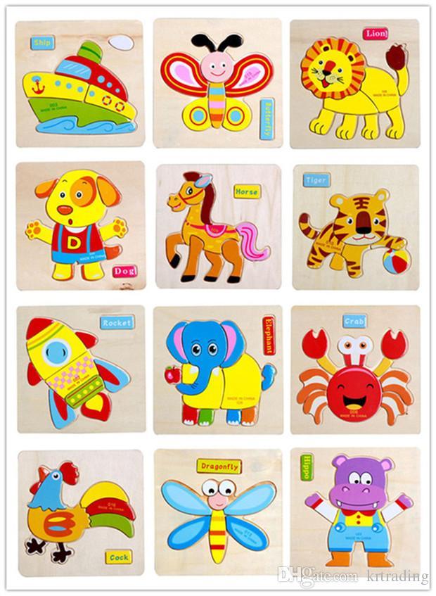 24 styles enfants mignon animaux en bois puzzles 15 * 15 cm bébé nourrissons coloré bois puzzle jouets jouets animaux véhicules pour 1-6 t