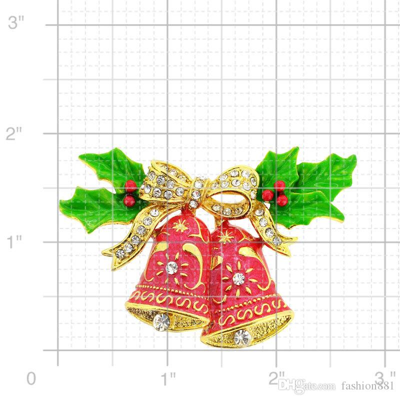 Holiday Christmas Xmas green Red Wreath Brooch Pin Jewelry Gift,Christmas Bells with Bow & Holly Pin 2.75 x 1.875 inches