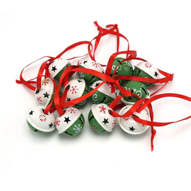 Christmas Decoration 1 Dozen Green White Steel Jingle Bells With Red Stringchristmas Tree Bells 25mm25mm20mm Holiday Christmas Decorations Holiday