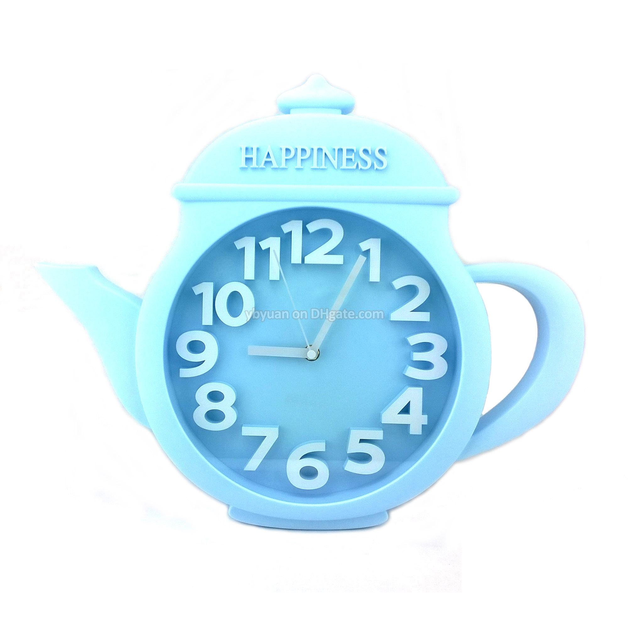 Decorative Teapot Shaped Wall Clock Kitchen Timepiece Creative ...