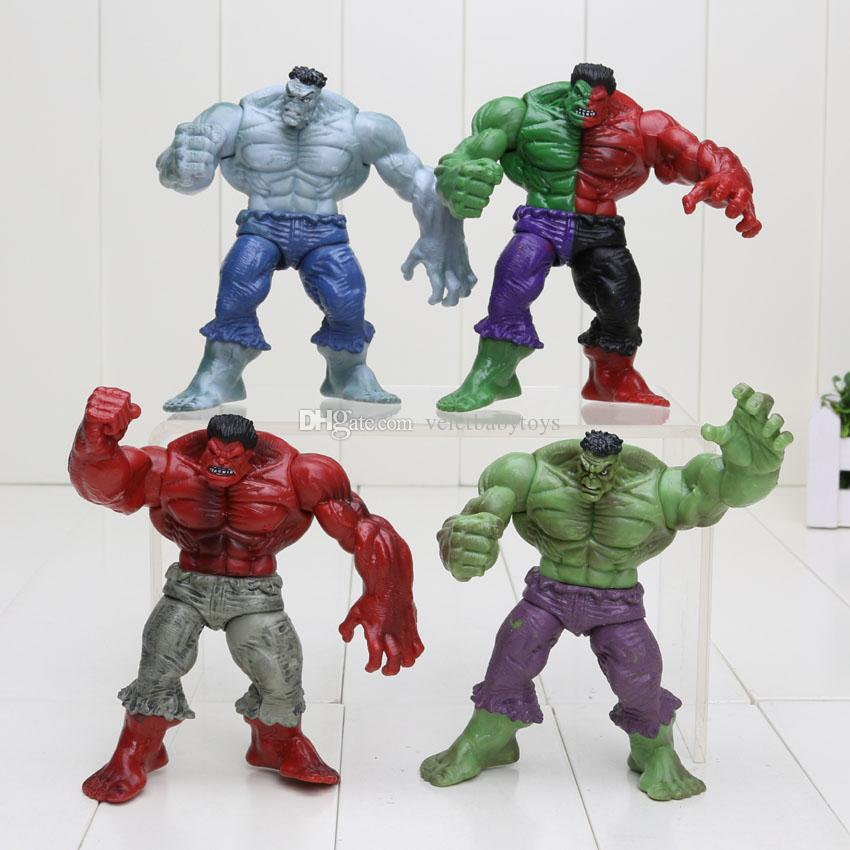 4pcs/set Avenger 2 Hulk 4 different Universe Compound Red Grey Green PVC Action Figure Kids Toys with opp bag
