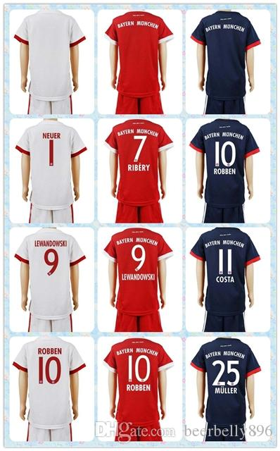 top uniforms kit youth kids 2017 2018 soccer jersey bayer 7 ribery 9 lewandowski 10 robben 25 muller