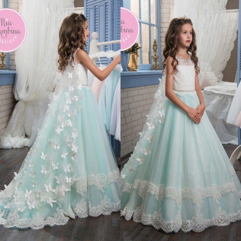 2019 Nuevo Lindo 3D Flora Apliques de encaje Vestidos para niñas de flores con gorro Princesa Joya Cuello moldeado Longitud del piso Niños Vestidos de desgaste formal