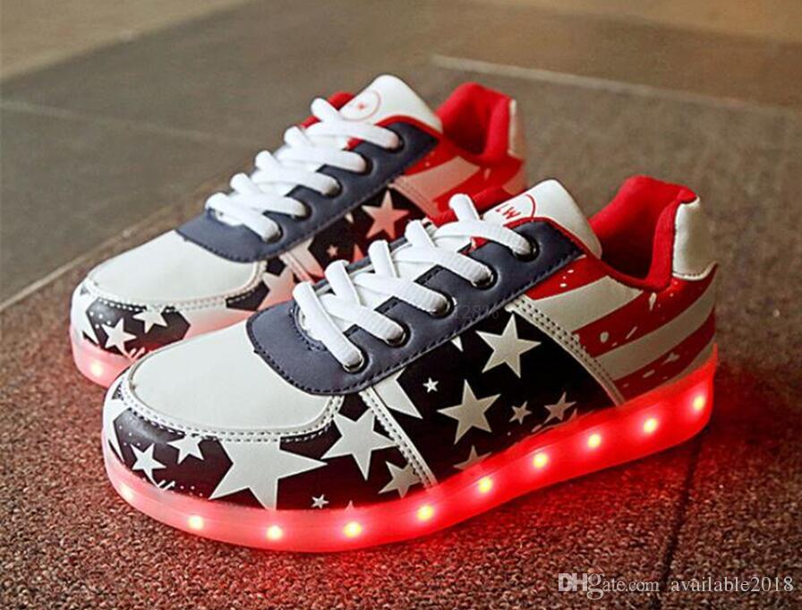 Led Licht Schoenen : Light up led shoe black men shoe led schoenen couple casual adult