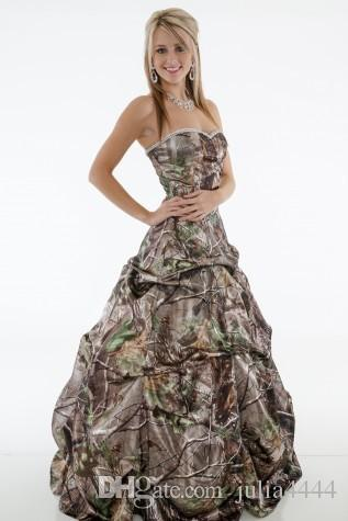 Vintage Wedding Dresses 2019 Real Tree Camo Country Cowboy Modest Strapless Crystal Ruffles Chapel Train Plus Size Camo Bridal Gowns Cheap