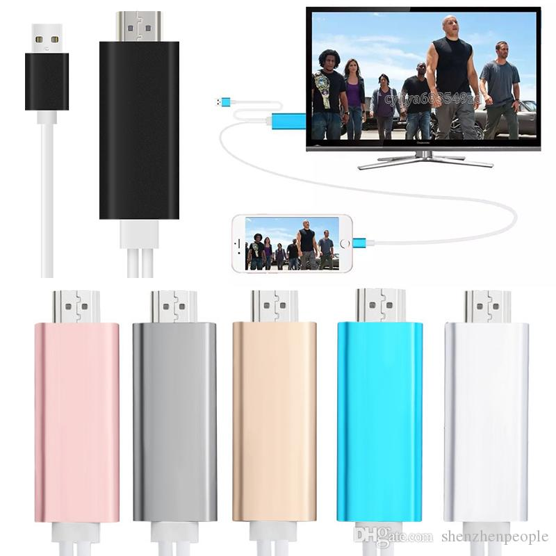 Dock to HDMI HDTV TV Adapter USB Cable 1080P for Smart Phone Cell Phone HDMI Cable with retail box