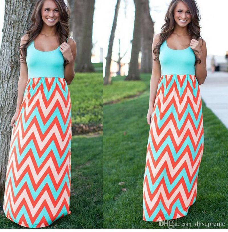 Venta caliente de moda de verano vestido de las mujeres de algodón boho rayas maxi dress largo sin mangas o-cuello dress plus size estilo playa