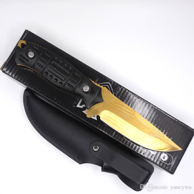 특별 한 도금 한 전술 칼 스트레이트 보위 나이프 5cr13 스테인레스 스틸 고정 블레이드 알류미늄 핸들 사냥 캠핑 EDC 도구 무료 배송