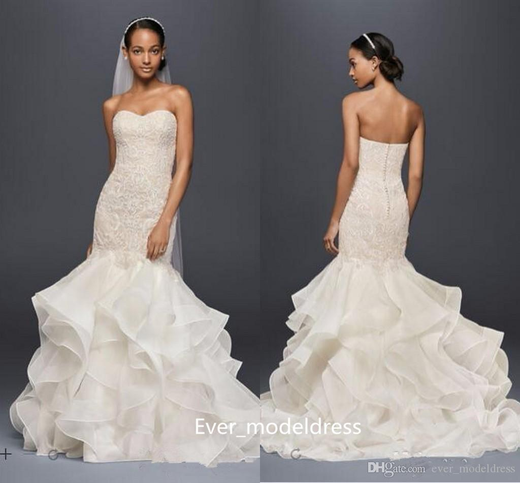 Vintage Oleg Cassini Wedding Dresses 2017 Mermaid Ruched Tiered ...