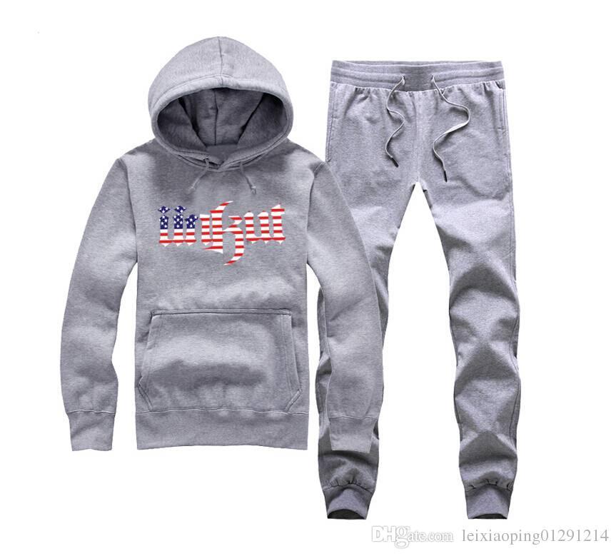Unkut Nueva marca para hombre del suéter con capucha de moda abrigo blanco marea al por mayor de algodón con capucha masculina, además de lana gruesa + pantalones