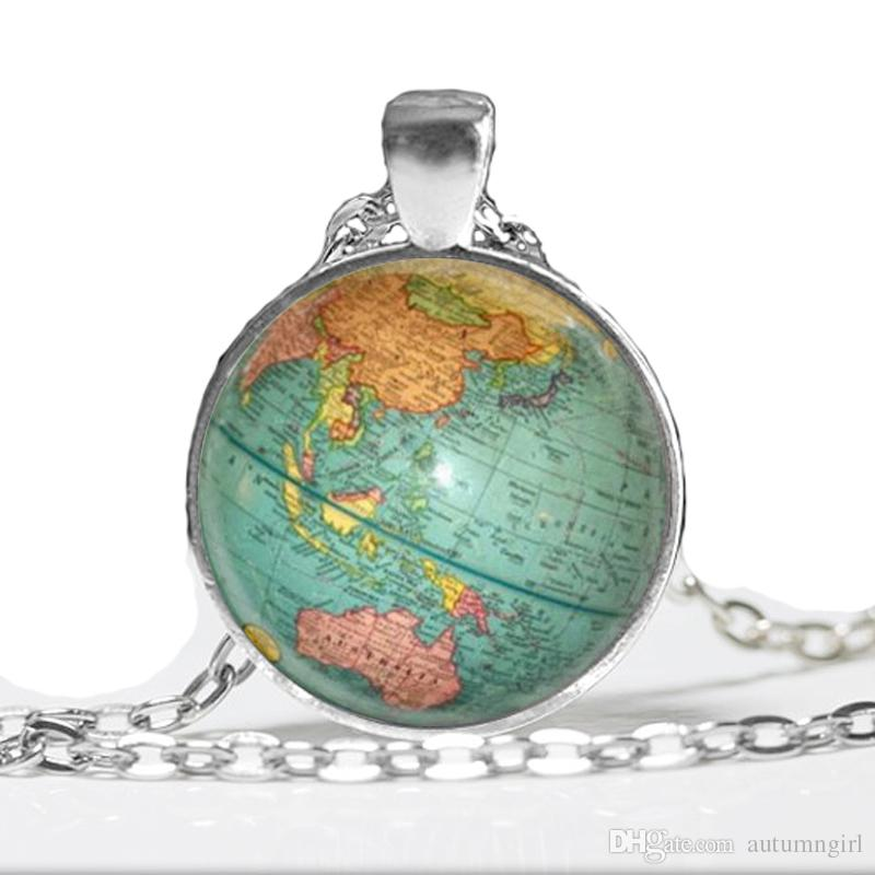 2017 Hot Glass Dome Jewelry Vintage Globe Necklace Planet Earth World Map Pendant Art Glass Dome Pendant Necklace
