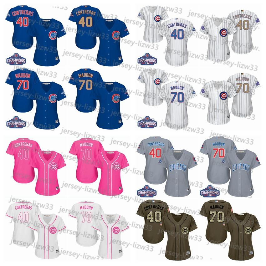 09b17565867 ... champions gold stitched mlb majestic 2017 cool base jersey 78023 672c7   france stitched mlb jersey 2017 womens chicago cubs 70 joe maddon 40  willson ...
