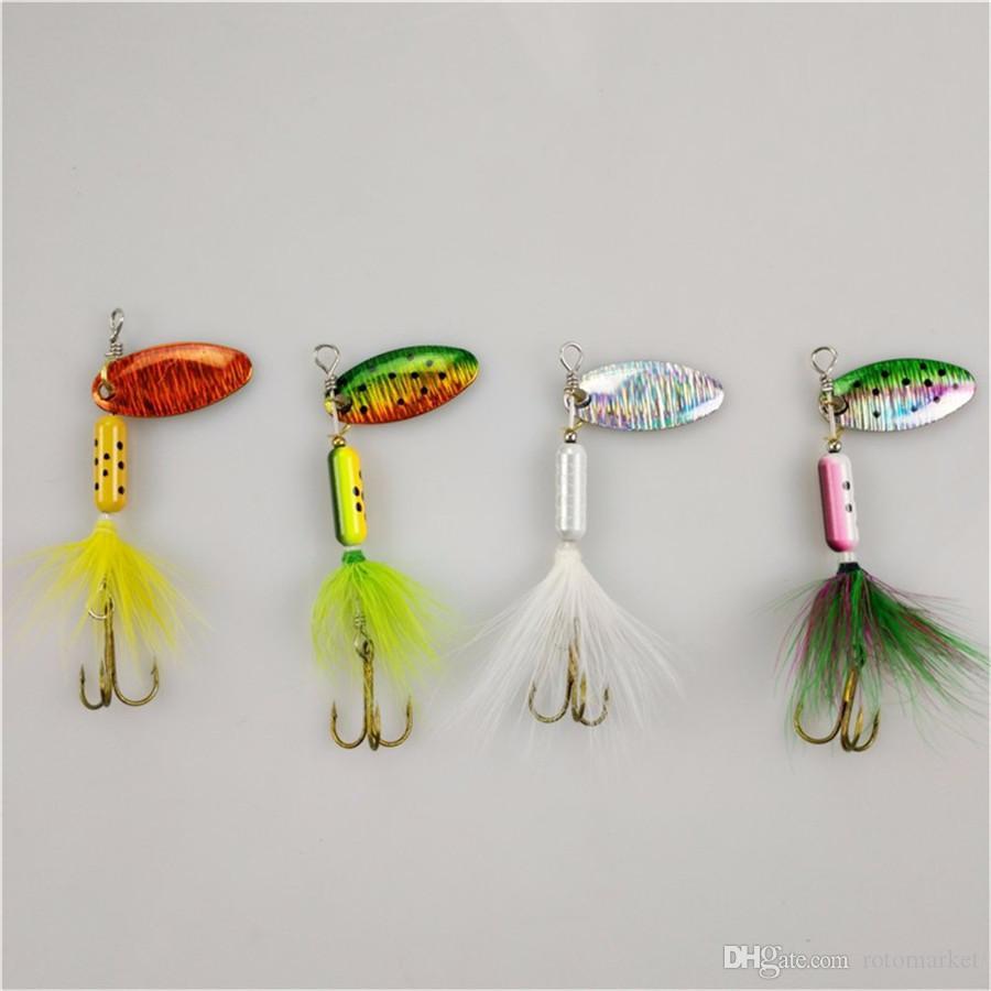 Spoon Metal Wobble Esche da pesca Spinner Esche Manovella esca Bass Wobbler Affrontare Gancio pesce persico Pesce a strisce Pesce gatto