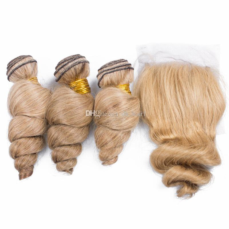 Peruvian Honey Blonde Virgin Hair Loose Wave 3 Bundles With Lace Closure Color #27 Strawberry Blonde Top Closure With Hair Weaves