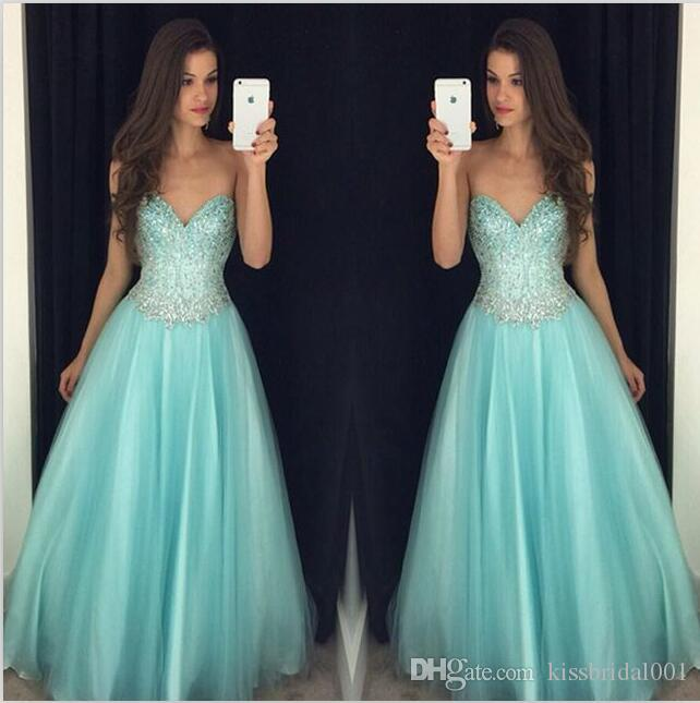 Sweetheart A Line Prom Dresses Zipper Back Long Prom Dresses Beading Sequins Formal Party Dresses gown