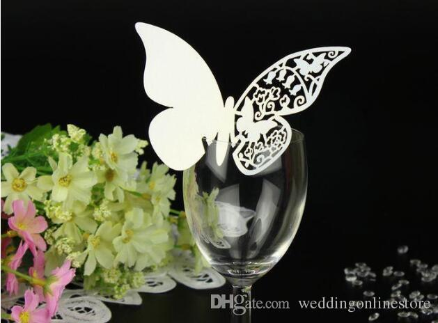 Wedding Decorations Elegant Laser Cut Butterfly Wine Glass Cards Wedding Party Table Decor Cake Toppers Escort Name Cards