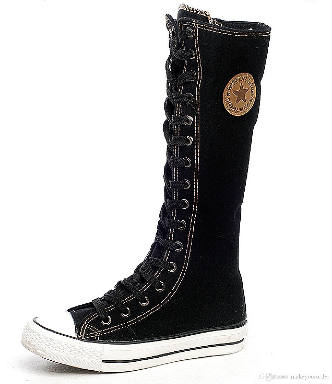 플랫 높이 캔리즈 부츠 여성 캔버스 신발 205 도매업 무료 배송 핫 판매자 사이드 지퍼 순수 컬러 캔버스 신발