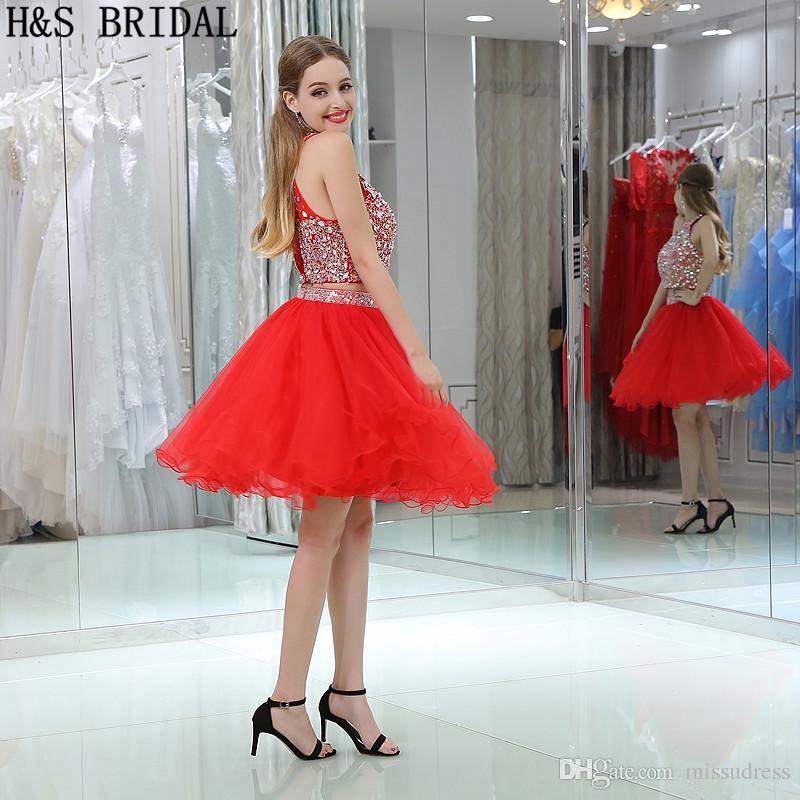 Nueva Llegada Fotos Reales Lentejuelas Rojas Con Cuentas de Dos Piezas Vestidos de Graduación Niñas Fiesta de Vestidos de Baile Barato B031