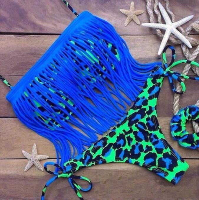2017 Hot Sale Sexy Tassel Woman Sexy Elastic Bikini Set Pad Swimsuits Sport Fringe Top Swimwear