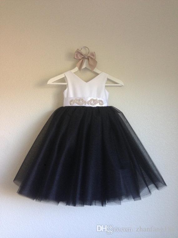 Coral flowergirl vestidos para crianças com decote em v beading vestido de dama de honra júnior preto crianças flowergirl vestidos de tule