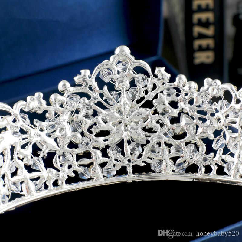 Meistverkaufte Vintage Euramerican Großhandel Prinzessin Hochzeit Crown Tiaras Kristall Strass Silber Stirnband Haarband Braut Zubehör Prom