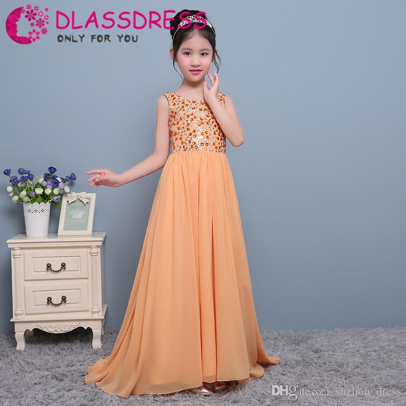 2018 Flower Girl Dresses for Weddings Cheap Fashion Beauty Princess Beading First Communion Pageant Dresses for Little girls