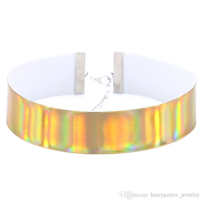 Marca 2017 dichiarazione collana di cuoio fluorescente luce semplice moda maxi laser punk collare choker collana donne gioielli nave di goccia 162213