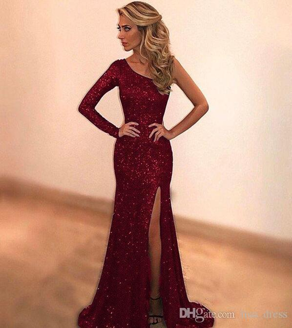 Sparkly Sequined Green Mermaid Prom Dresses 2017 Custom Made One Shoulder Long Evening Party Dress Sexy side Slit robe de soiree