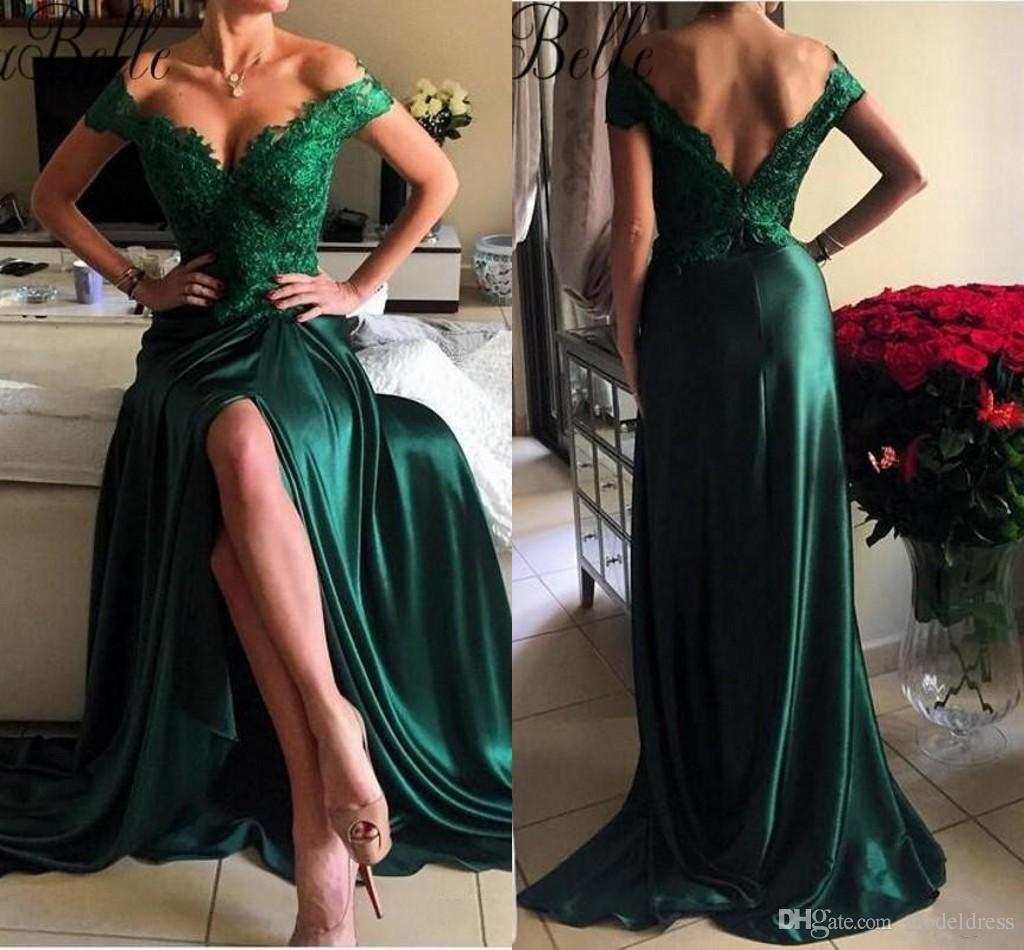 Pinterest Woman Emerald: 2018 New Front Split Prom Dress High Quality Off Shoulder