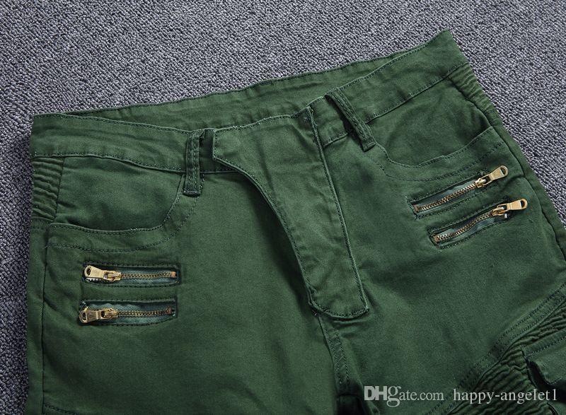 Мужчины джинсы байкер панк стиль грузовой карман джинсы тощий известный бренд мужская дизайнерская одежда молния джинсовые брюки армия зеленый