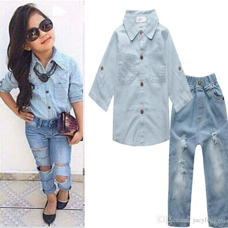 1a6d8f0d4ad30a baby girls sets clothing shirt+jeans 2pcs ladies outfit kids causal leisure  sets children cotton baby sets tops+pants boutique 2-7Y CQZ119