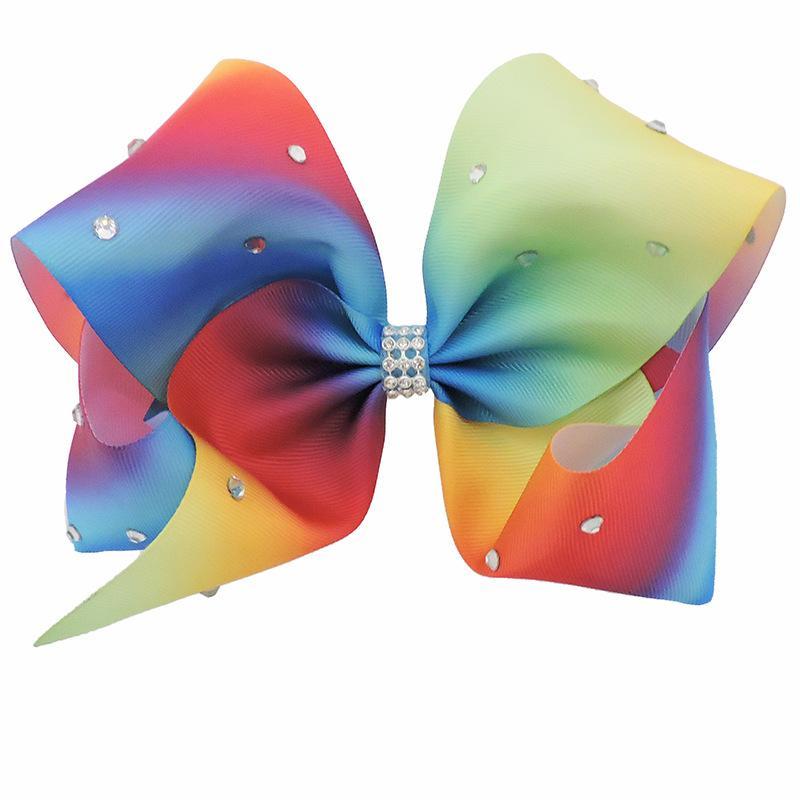 12st 18CM Gradient Regenbogen Strass Haarschleife mit Klipp-Mädchen-Tanz Cheer Hairpin Spangen Schöne Huilin AW47