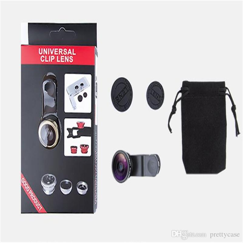 3 in 1 Universal Clip Fish Eye Lens Wide Angle Macro Lens Mobile Phone Fisheye Lens For iPhone Samsung With Retail Box