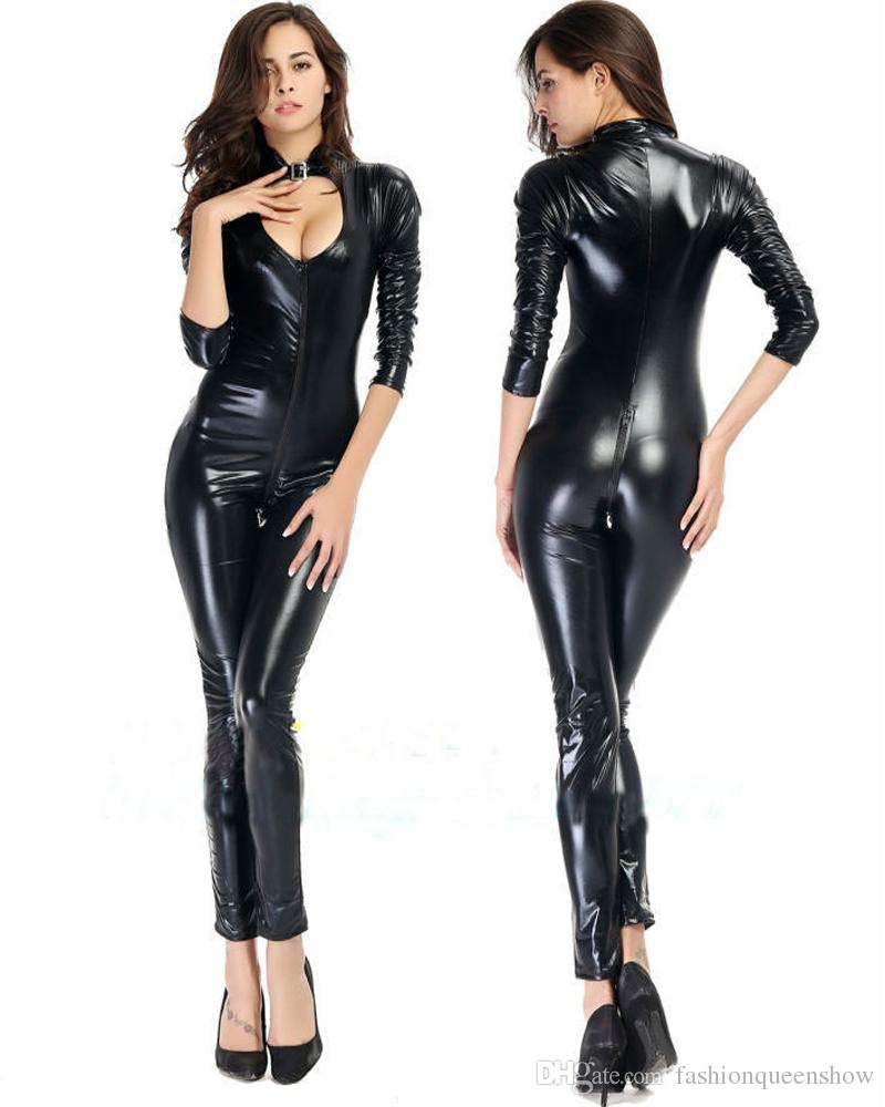 Sexy Women Black Faux Leather Catsuit Skinny Bodysuit Low Cut Jumpsuit Wetlook Crotchless Leotard Night Party Clubwear Costume S-5XL