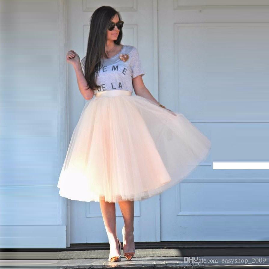 Smooth Tulle Skirts Women Satin Zipper Waistline A Line Knee Length Simple Puffy Tutu Skirt Summer Spring Casual Skirt
