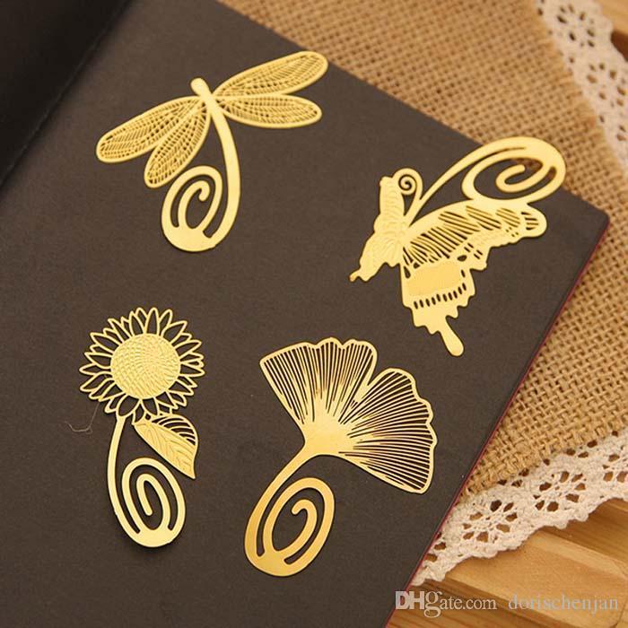 Marcadores metálicos de regalo con estudiantes de buena calidad estudio mini pluma de marcador de oro Párrafo de metal de ginkgo verde regalo bonito creativo