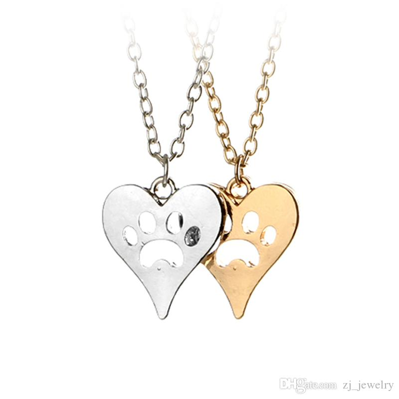 You Left Your Paw Prints on My Heart Rescue Dog Cat Silver-Tone Paw Print Heart Necklace Heart with Paw Cutout Pet Lover Jewelry 5