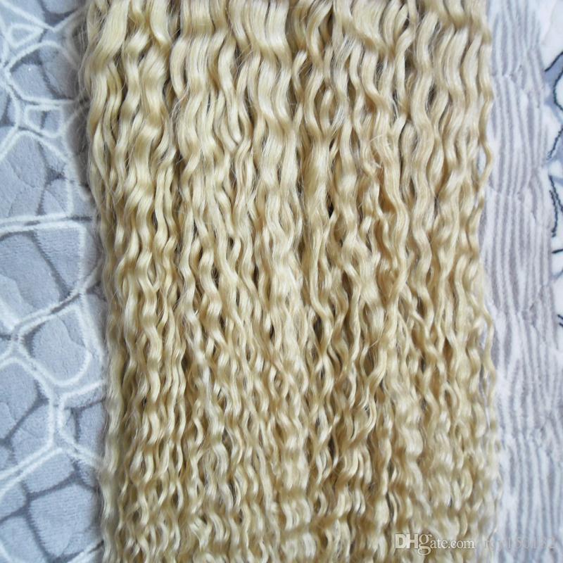 Cabelo Louro queratina U Dica extensões do cabelo 1g / s 200g não-Remy Cabelo Humano Brasileiro 613 crespos encaracolados 200g