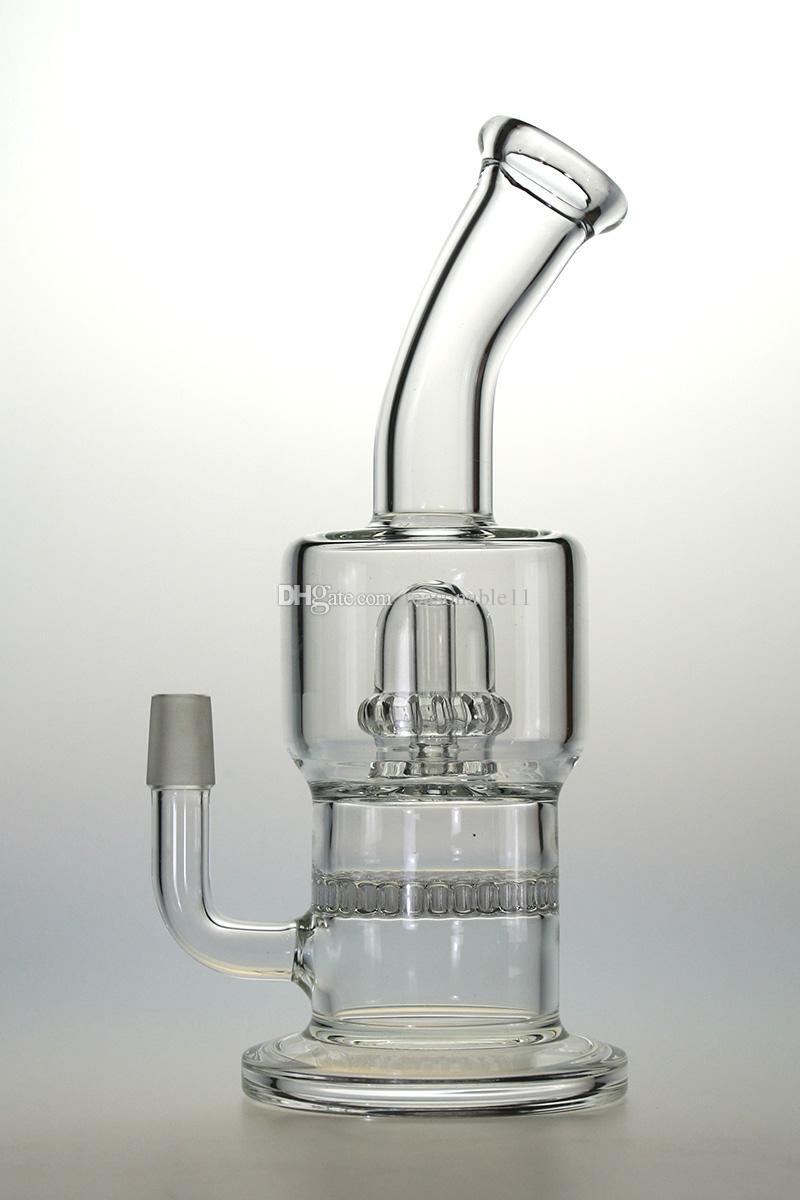 Tubos de vidro Bongs água Borosilicate Limpar cilindros em linha com Matrix Slitted in-line Perc Caliane Dab Rig