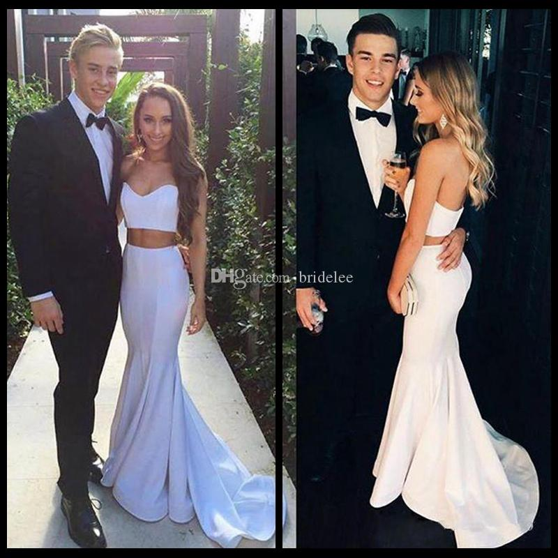 3c163cd5108 Modern White Two Pieces Mermaid Prom Dress 2018 Sleeveless Sweetheart Sweep  Train Simple Formal Evening Gowns Vestido De Festa