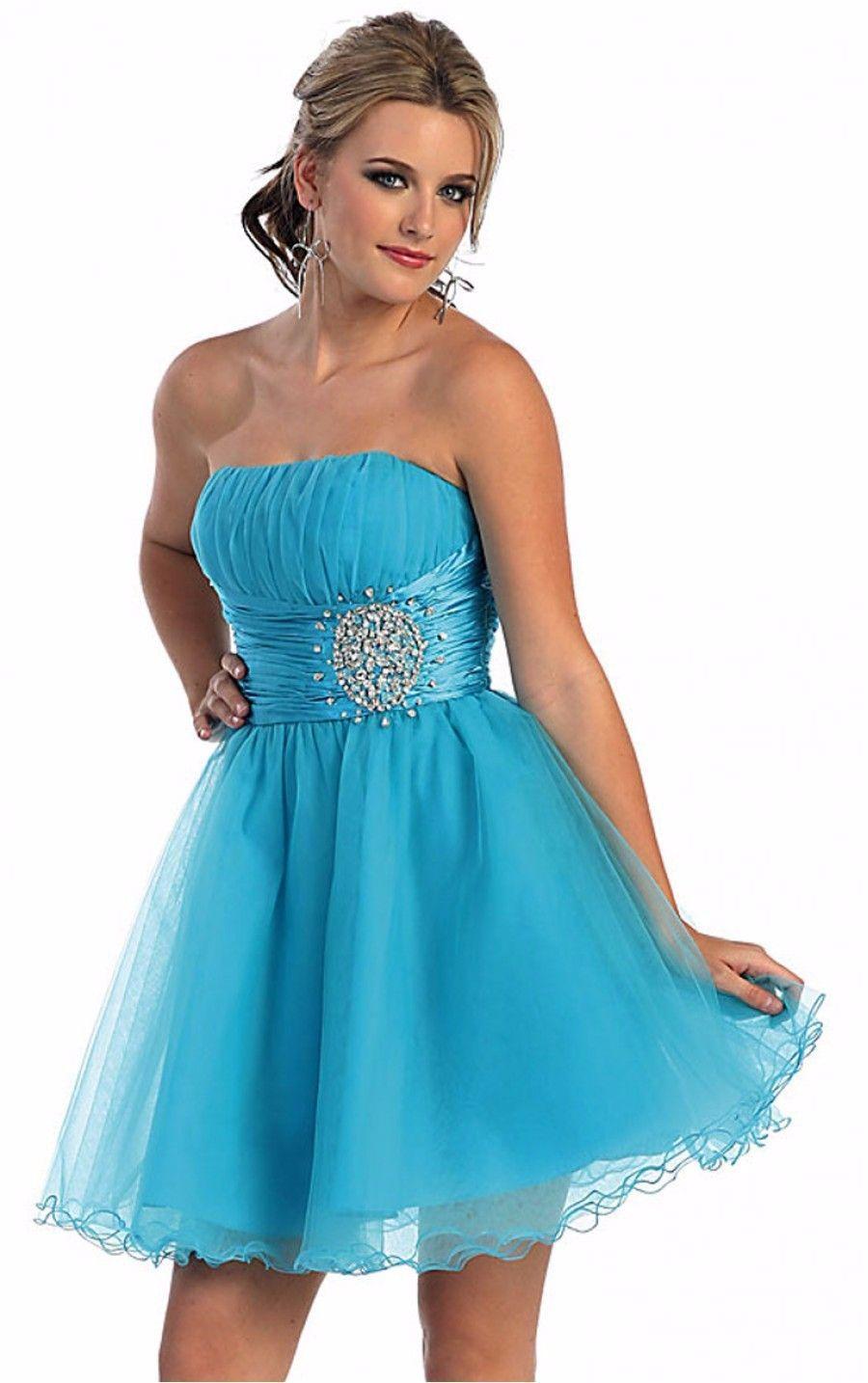 Malibu Blue Short Party Dress Short Bridesmaid Dress Prom Dress with Beading