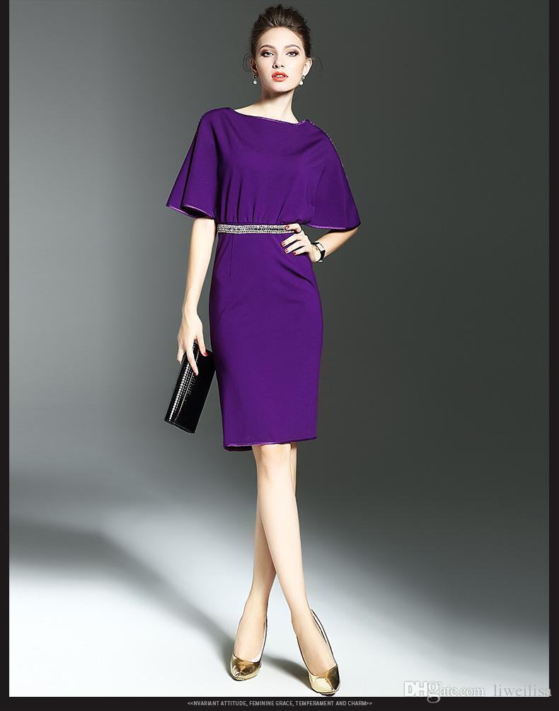 e62e5d41bfc3 2019 New European Fashion Summer Women Dress Elegant Purple Knee ...
