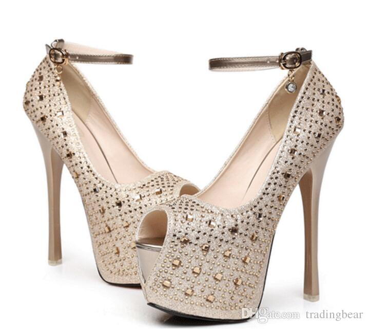 451fb3972c1 New Women S Super High Heel 16 Cm Waterproof Shoes Diamond Wedding Shoes  Super High Platform Spikes Pumps Gold Black Shoe Boots Sexy Shoes From  Tradingbear
