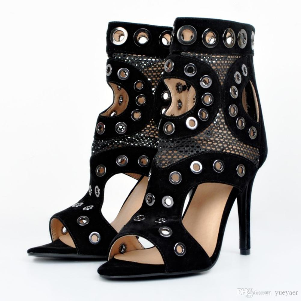 Zandina Womens Fashion Handmade 10 cm Ausschnitt Metall Ösen Sexy Party Prom High Heel Sandaletten Schuhe Schwarz XD074